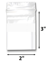 "2"" x 3"" Reclosable Plastic Zipper Bags 2 Mil, White Block center. (100 Bags)"