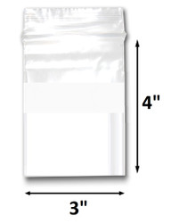 "3"" x 4"" Reclosable Plastic Zipper Bags 2 Mil, White Block center. (100 Bags)"