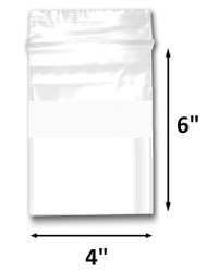 "4"" x 6"" Reclosable Plastic Zipper Bags 2 Mil, White Block center. (100 Bags)"