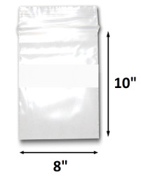 "8"" x 10"" Reclosable Plastic Zipper Bags 2 Mil, White Block center. (100 Bags)"