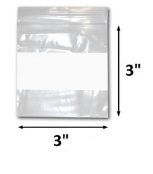 "3"" x 3"" Reclosable Plastic Zipper Bags 2 Mil, White Block center. (100 Bags)"