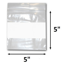 "5"" x 5"" Reclosable Plastic Zipper Bags 2 Mil, White Block center. (100 Bags)"