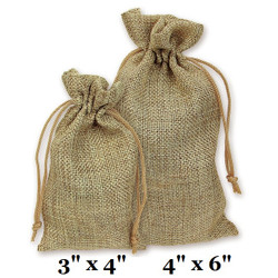 "Natural Burlap Fabric Drawstring Bags - 12Bags/Pk (3"" x 4"")"