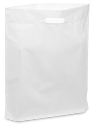 "20"" x 20"" x 5"" White Patch Handle Bags (50 Bags/Pk)"