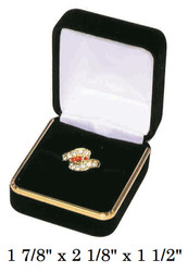 Classic Black Velvet Ring Gift Box with Brass Trim
