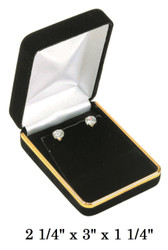 Classic Black Velvet Metal Pendant/Earring (w/Flap) Jewelry Gift Box with Brass Trim