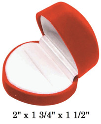 Soft Flocked Red Velour Heart Ring Gift Box