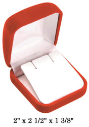 Soft Flocked Red Velour Large Earring Gift Box