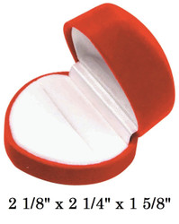 Soft Flocked Velour Large Heart Ring Box