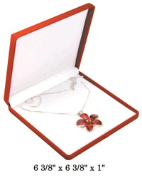 Red Soft Flocked Velour Large Necklace Box