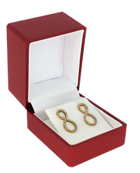 Exquisite Textured Red Earring Gift Box with Pre-tied Ribbon