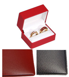 Exquisite Textured Black Double Ring Gift Box with Pre-tied Ribbon