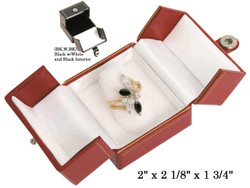 Black/White Finger Ring Snap-Tab Leatherette Box