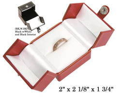 Black/White Large Ring Snap-Tab Leatherette Box