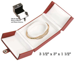 Black/White Bangle/Watch Snap-Tab Leatherette Box