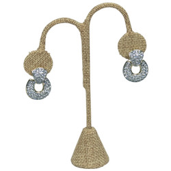 "Burlap Fabric Single Earring Display Tear Drop Shape 5 1/4""H"