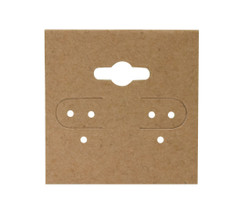 "Kraft Plain Hanging Earring Cards - 1 1/2"" x 1 1/2"""
