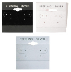 """""""Sterling Silver"""" Silver Font Printed Hanging Earring Cards"""