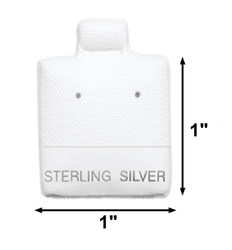 "White ""Sterling Silver"" Printed Vinyl Puff Earring Display Cards - 1"" x 1"" - 100Pcs/Pk"