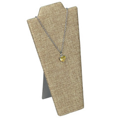 "Burlap Fabric 8 7/8""H Necklace Display with Easel"