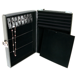 "Jewelry Attache Case with buckle and side handle - 12 1/8"" x 8 1/2"" x 2 1/4""H"