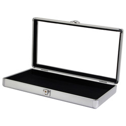 Silver Tone Glass-Top Small Attache Case