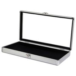 """Silver Tone Glass-Top Small Attache Case - 14 7/8"""" x 8 3/8"""" x 2 1/8""""H"""