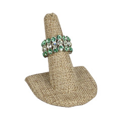 Single Tall Burlap Fabric Ring Stand with Semi-Circle Base