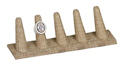 Burlap Fabric 5-Ring Tall Finger Jewelry Display