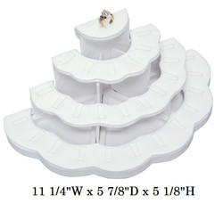 White Multi-tiered Ring Jewelry Display - 29-Ring Clips