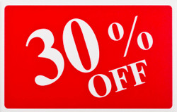 "Plastic ""30% OFF"" Store Message Sign 11""W x 7""L"