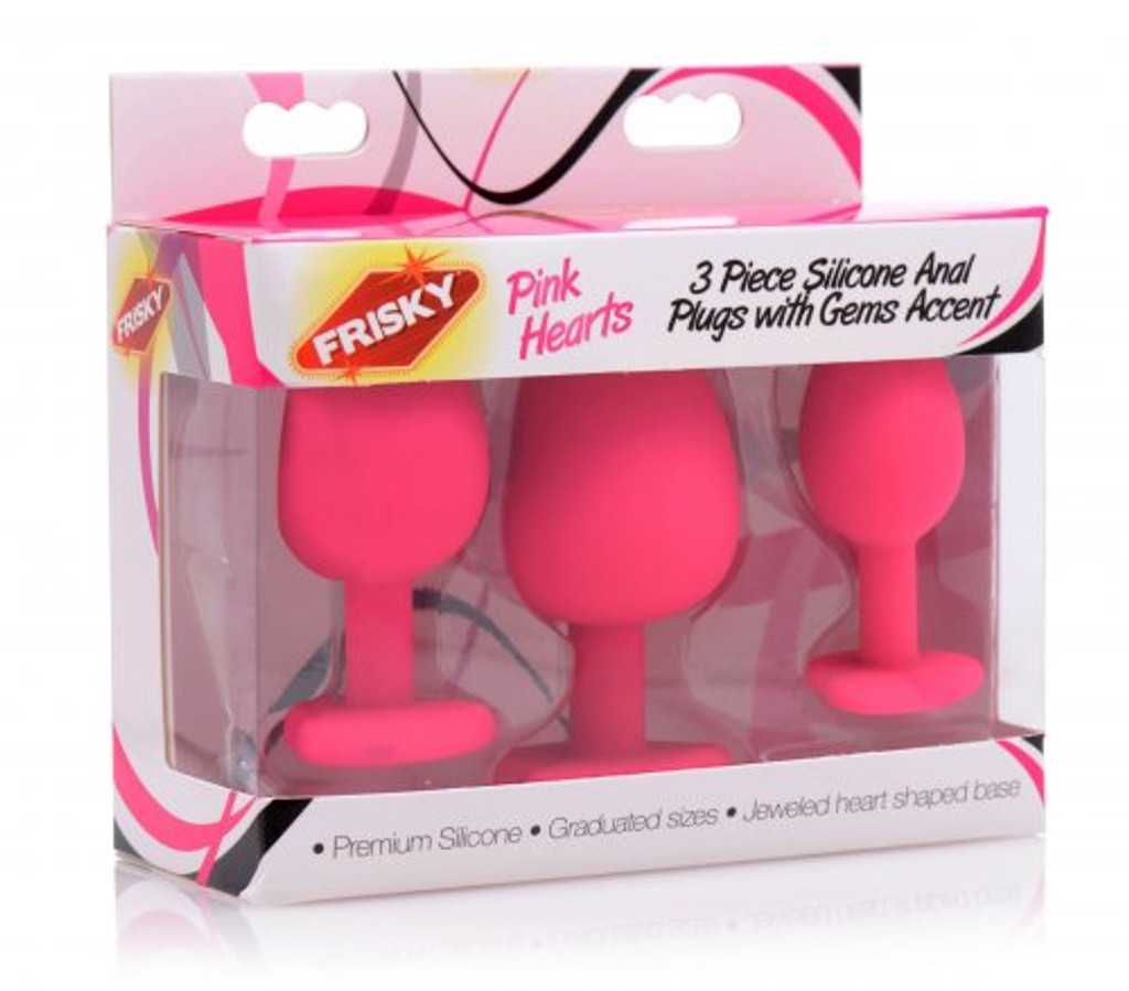Pink Hearts 3 Piece Silicone Anal Plugs with Gem Accents  (packaged)