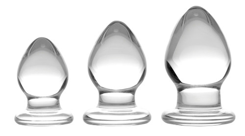 Triplets 3 Piece Glass Anal Plug Kit (AF113)