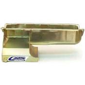 Engine Oil Pan, Drag Race, Rear Sump, 6 qt, 8-1/2 in Deep, Steel, Cadmium, Small Block Chevy, GM X-Body, Each