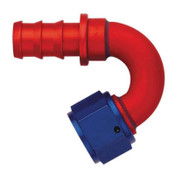 Fitting, Hose End, AQP Socketless, 150 Degree, 10 AN Hose Barb to 10 AN Female, Aluminum, Blue / Red Anodize, Each