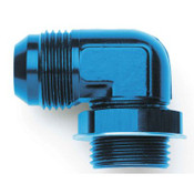 Fitting, Adapter, 90 Degree, 12 AN Male to 12 AN Male O-Ring, Low Profile, Aluminum, Blue Anodize, Each