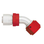 Fitting, Hose End, AQP/Starlite, 45 Degree, 20 AN Hose Crimp to 20 AN Female, Aluminum, Red / Silver, Each