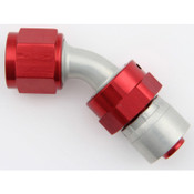 Fitting, Hose End, AQP/Starlite, 45 Degree, 8 AN Hose Crimp to 8 AN Female Swivel, Aluminum, Red / Silver, Each