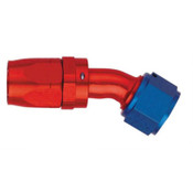 Fitting, Hose End, AQP/Starlite, 45 Degree, 6 AN Hose to 6 AN Female Swivel, Aluminum, Blue / Red Anodize, Each