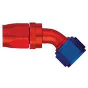 Fitting, Hose End, AQP/Starlite, 45 Degree, 16 AN Hose to 16 AN Female Swivel, Aluminum, Blue / Red Anodize, Each