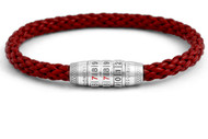 Combination Lock Bracelet - Red Leather Medium