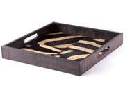 Square Leather Tray - Zebra Inlay