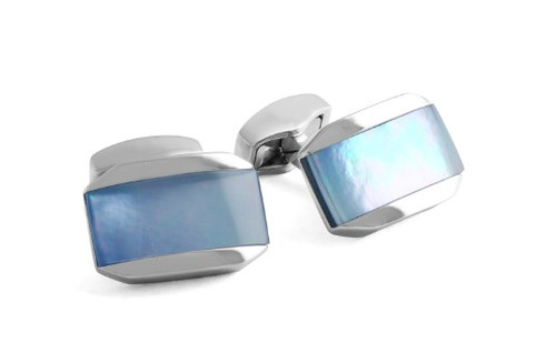 Moonlight Tonneau Cufflinks - Blue MOP