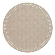 """Pearls Beige White 15"""" Round Mat"""