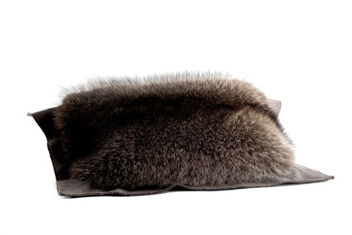 Raccoon and Leather Pillow