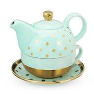 Addison Aqua Gold Dot Tea Set for On