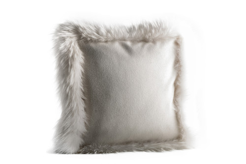 White Raccoon and Wool Pillow