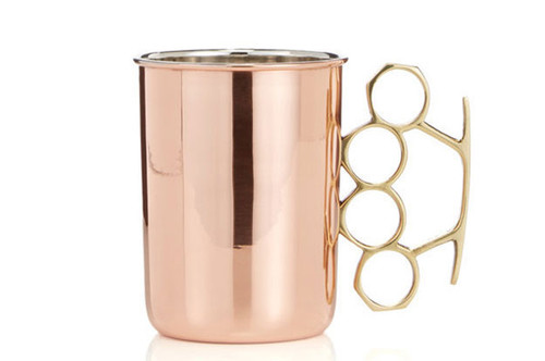 20oz solid copper brass knuckle moscow mule mug