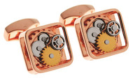 Gear Square Rose Gold Color Cufflinks