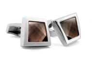 Gems Twisted Silver Smokey Quartz Cufflinks